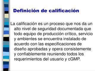 Definición de calificación