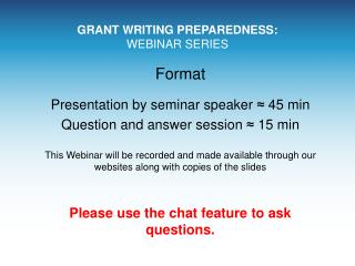 GRANT WRITING PREPAREDNESS: