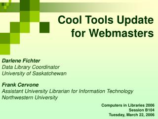 Cool Tools Update for Webmasters