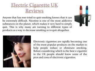 E Cig Starter Kit Reviews