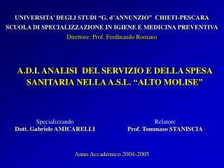 Specializzando Dott. Gabriele AMICARELLI