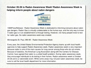 October 20-26 is Radon Awareness Week! Radon Awareness Week