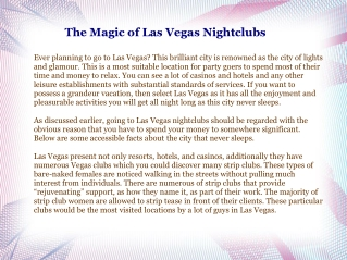 The Magic of Las Vegas Nightclubs