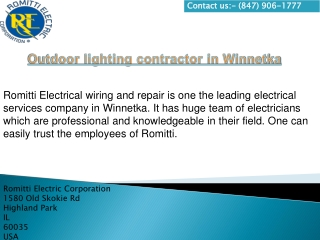 Outdoor lighting contractor in Winnetka