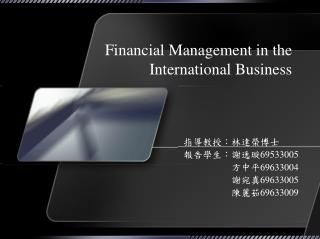 Financial Management in the International Business