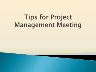 Essential Tips for Project Management Meeting