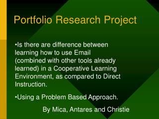 Portfolio Research Project