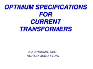 OPTIMUM SPECIFICATIONS 