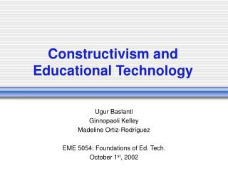Constructivism and Educational Technology