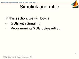 GUI development with Matlab - Simulink and Mfile