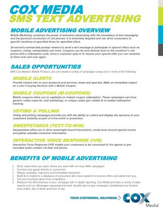 COX MEDIA  SMS TEXT ADVERTISING