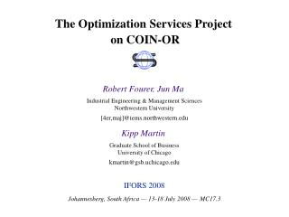 The Optimization Services Project  on COIN-OR