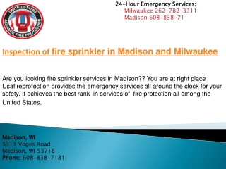 Inspection of fire sprinkler in Madison and Milwaukee