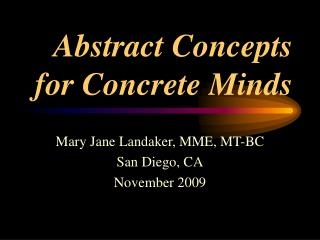 Abstract Concepts for Concrete Minds