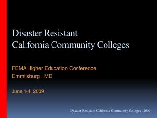 disaster resistant california community colle ges