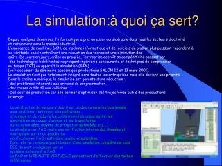 La simulation:à quoi ça sert?