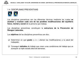 1.4. DISCIPLINAS PREVENTIVAS