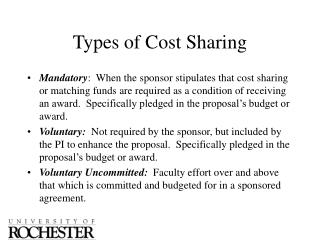 Types of Cost Sharing