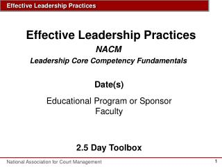 Effective Leadership Practices