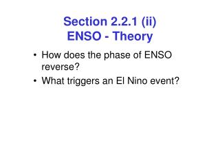 Section 2.2.1 (ii)  ENSO - Theory