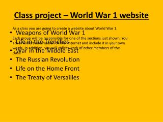 Class project – World War 1 website
