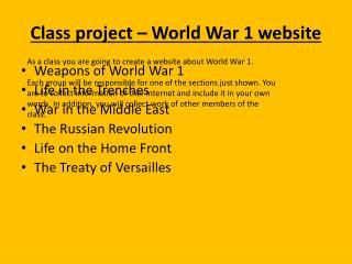 Class project – World War 1 website
