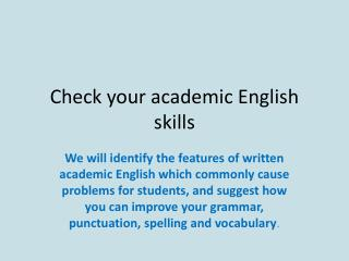 Check your academic English skills