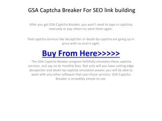 GSA Captcha Breaker For SEO link building