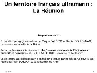 Un territoire français ultramarin :La Réunion