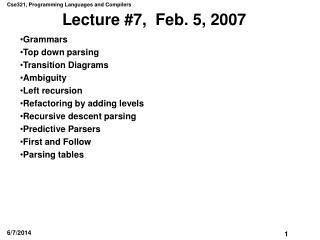 Lecture 7,  Feb. 5, 2007
