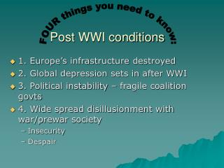 Post WWI conditions