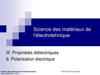 Science des mat riaux de l  lectrotehnique
