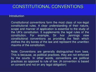 CONSTITUTIONAL CONVENTIONS