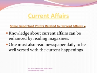 Are you wanted to know about  Current Affairs