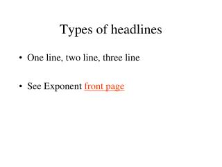 types of headlines