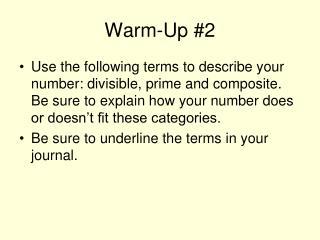 Warm-Up 2