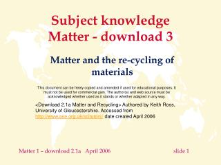 Subject knowledge  Matter -  3