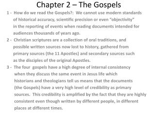 Chapter 2 – The Gospels