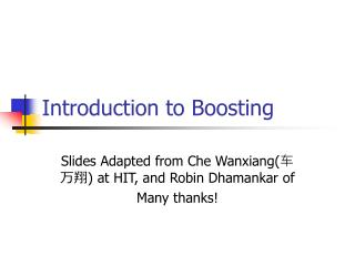 Introduction to Boosting