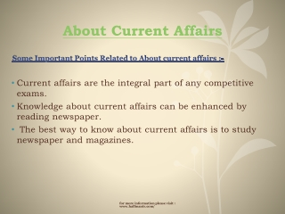 More Information about Current Affairs
