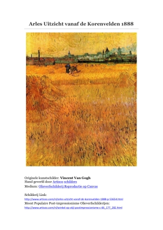 Arles Uitzicht vanaf de Korenvelden 1888 -- Artisoo