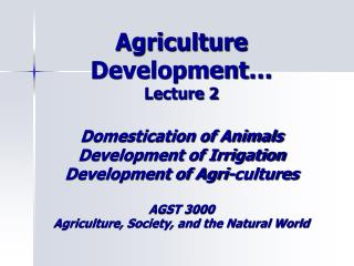 Agriculture Development - Animals
