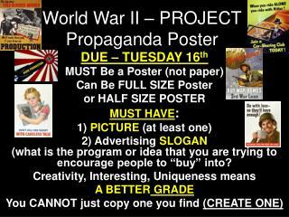 World War II – PROJECT Propaganda Poster