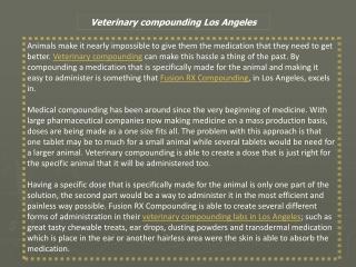 Veterinary Compounding Los Angeles