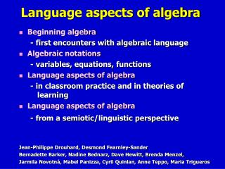 Language aspects of algebra