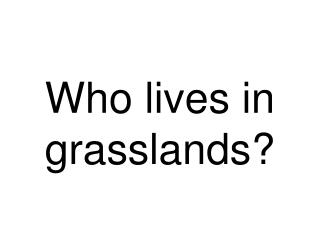 Who lives in grasslands?