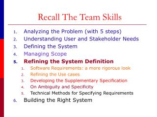 Recall The Team Skills