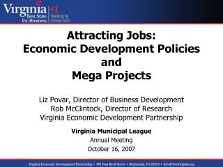 Governor's Strategic Economic Development Goals