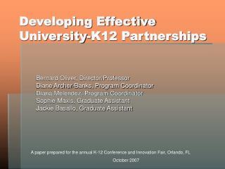 Developing Effective University-K12 Partnerships
