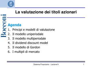 Sistema Finanziario - Lezione 9
